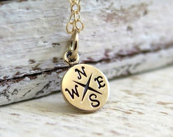 Tiny Compass Necklace, Delicate Gold Compass Necklace