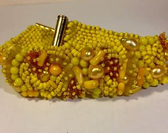 Margaret Scovil Original Free Form Beaded Bracelet In Yellow