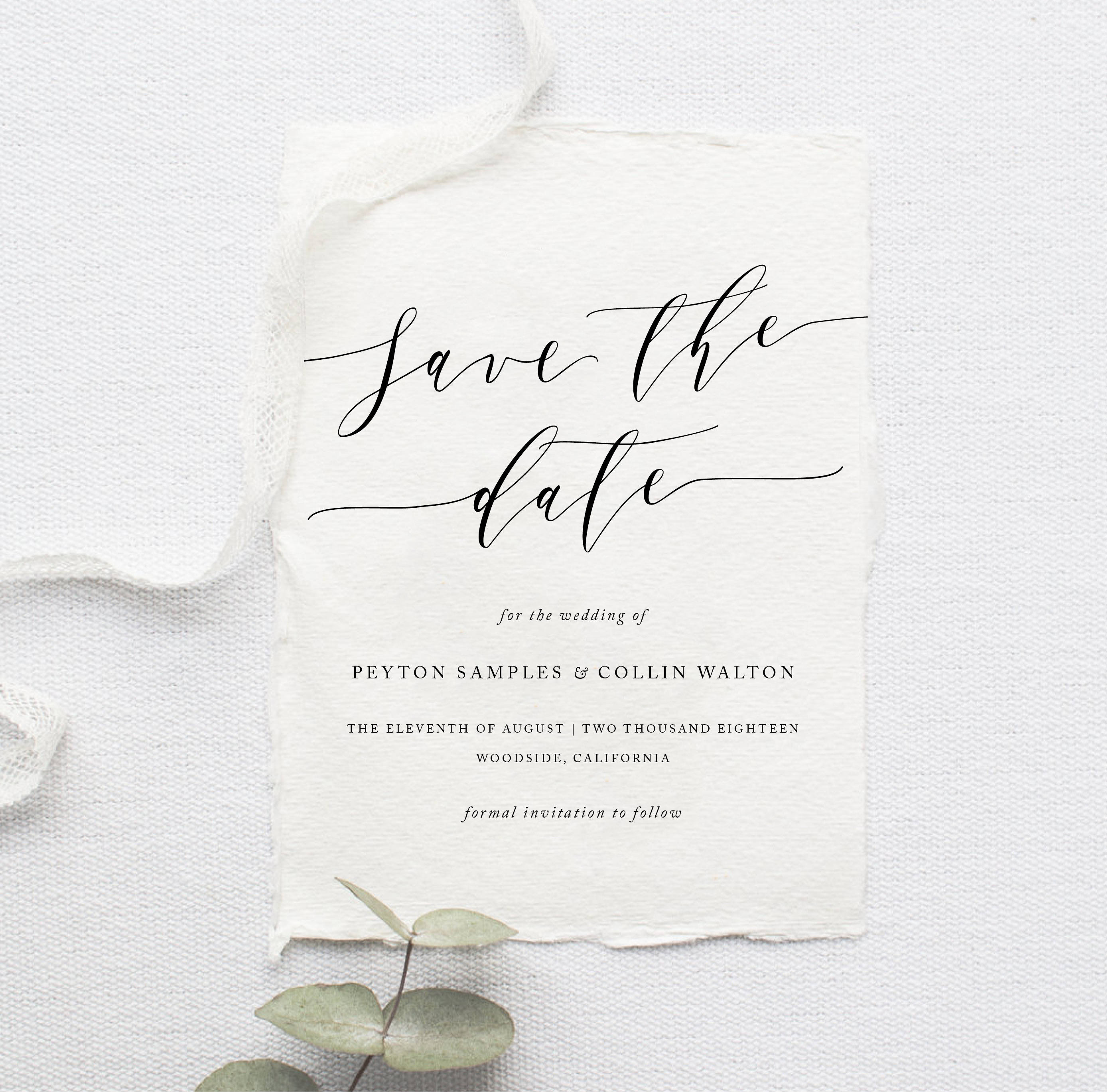 Printable Save The Date Simple Invite Calligraphy Modern