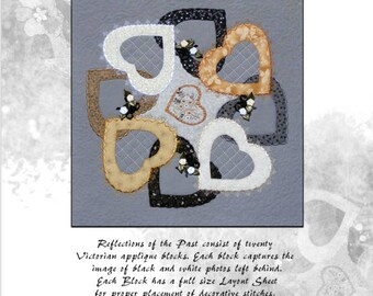 PDF Applique Quilt Block Pattern Download, Victorian applique Block 16 Eight Hearts, Reflections of the Past,