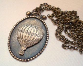 Hot Air Balloon Necklace Vintage Brass Balloon, Pendant Jewelry Up Up and Away - Vintage Inspired Necklace