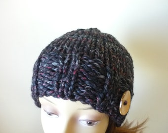 Womens Knit Hat Teens Knit Hat Winter Hat Chunky Knit in Black with Burgundy Grey Accents and Button Trim - Ready to Ship - Direct Checkout