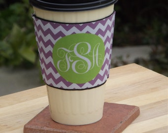 Personalized Coffee Cup Sleeve Chevron or create your own