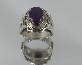 Medieval Style Ring with Large Lavender Chalcedony