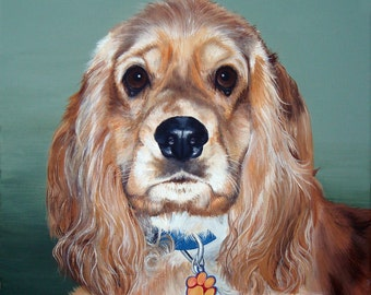 Pet Portrait Custom Pet Painting 12x12 Your Dog Cat Horse Great Gift idea