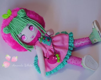 "Strawberry Clothdoll ""FRESI"" totally handmade"