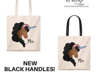 Black Unicorn - African American Unicorn - Brown Skinned Unicorn - Afro Unicorn - Personalized Tote Bag - Canvas Tote - Unicorn Tote