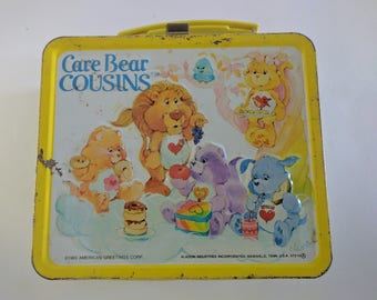 1986 Used Vintage Metal Aladdin Care Bear Cousins Lunch Box With No Thermos