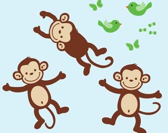 Monkey Wall Decals, Repositionable Monkey Stickers, Nursery Wall Decal Art (3 Monkeys only) AOC