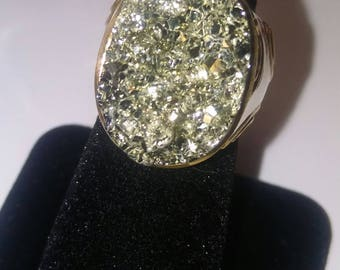 Pyrite Rough Ring Sterling Silver Size 5.5