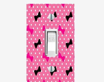 Hot pink / Black Bows light switch cover for girls bedroom wall decor