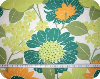 Floral retro vintage fabric - green, orange and white
