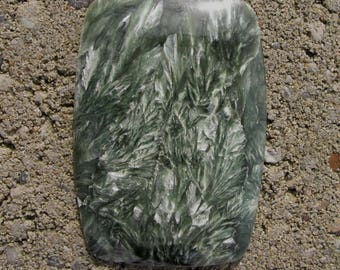 Large Seraphinite rectangular designer cabochon. 35 x 51 mm. High sheen polish. Green with lovely crystallizations. 118Y0018