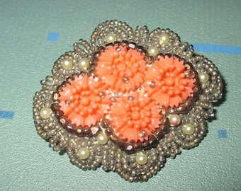 Vintage Fab Victorian Seed Pearl Bead and Carved Coral Flower Pin