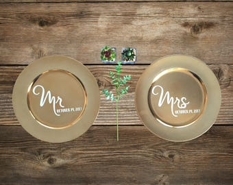 Mr. and Mrs. Wedding Place Settings - Set of 2 / Gold Charger Wedding Plates / Wedding Decoration Plates