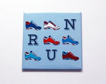 Run Magnet, Magnet for Runners, Fridge magnet, Kitchen Magnet, magnet, Stocking Stuffer, Gift for her, gift for him, Under 5, Blue (7279)