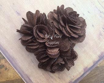 Chocolate Brown Burlap Flowers, 3 inches, Burlap Flowers, Wedding Supply, Burlap Rose