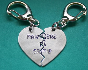 Partners in Crime Key Chain Pair - Broken Heart - Personalized - Hand Stamped Key Ring - Gift for Couples