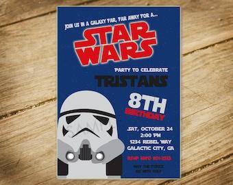 Star Wars Theme Birthday Party / Storm Trooper Invitation