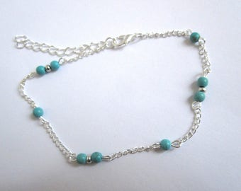 Anklet turquoise balls