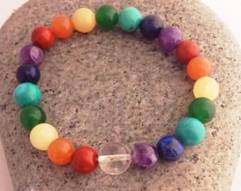 Multi Semiprecious Stone Seven Chakra Wrist Mala Bracelet - Balance Bracelet