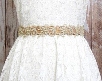 Light Gold Beaded Lace on Old Gold Ribbon, Gold Ribbon Sash Belt, Bridal Gold Belt, Brdiesmaid Gold Sash, Flower Girl Gold Sash