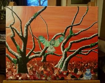 Owl painting original acrylic on canvas