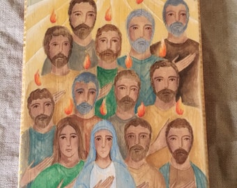 Pentecost Holy Spirit Hand Painted Original Acrylic Wood Block Icon