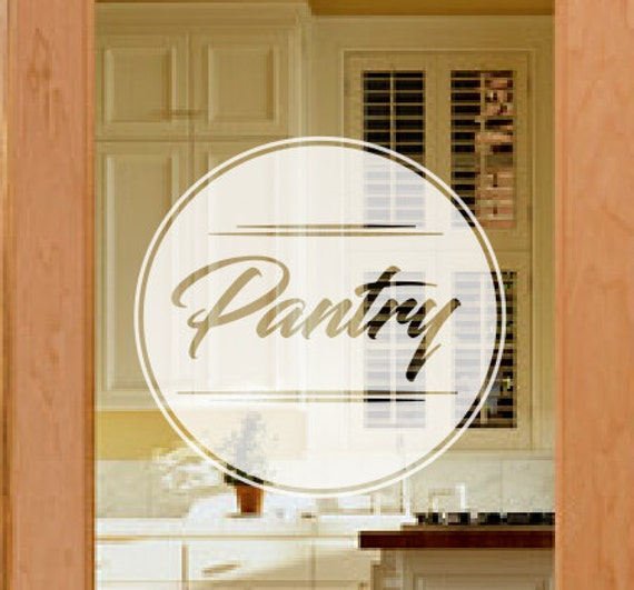 Pantry Door Decal Frosted Glass Decals Etched Vinyl Decal - Vinyl decals for glass doors