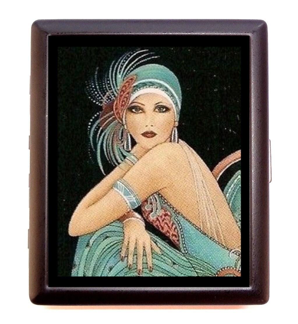 Flapper Girl 1920\'s Cigarette Case Business Card Wallet