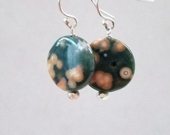 Coin Shape Ocean Jasper and Sterling Silver Dangle Earrings