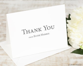 Personalized Card Set / Professional Greeting Simple Stationery / Stationary Notecard Set // SIMPLE THANK YOU Folded