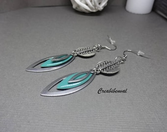 Earrings stainless steel, hypoallergenic, sequin turquoise blue enameled shuttle ethnic, Bohemian, creating unique jewelry