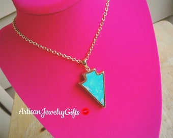 Turquoise Arrow Necklace Bohemian Necklace Arrow Triangle Necklace Boho Necklace Turquoise Necklace Mother's Day Gift Handmade Jewelry