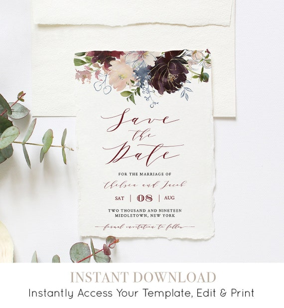 Boho Save the Date Template, INSTANT DOWNLOAD, 100% Editable, Printable Wedding Date Announcement, Burgundy & Gold Floral, DIY #040-112SD