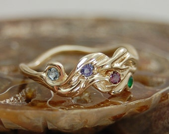Alma - Custom made engagement or other ring, gold or silver, colored gemstones, conflict free diamonds, Mother's ring, promise ring,birthday