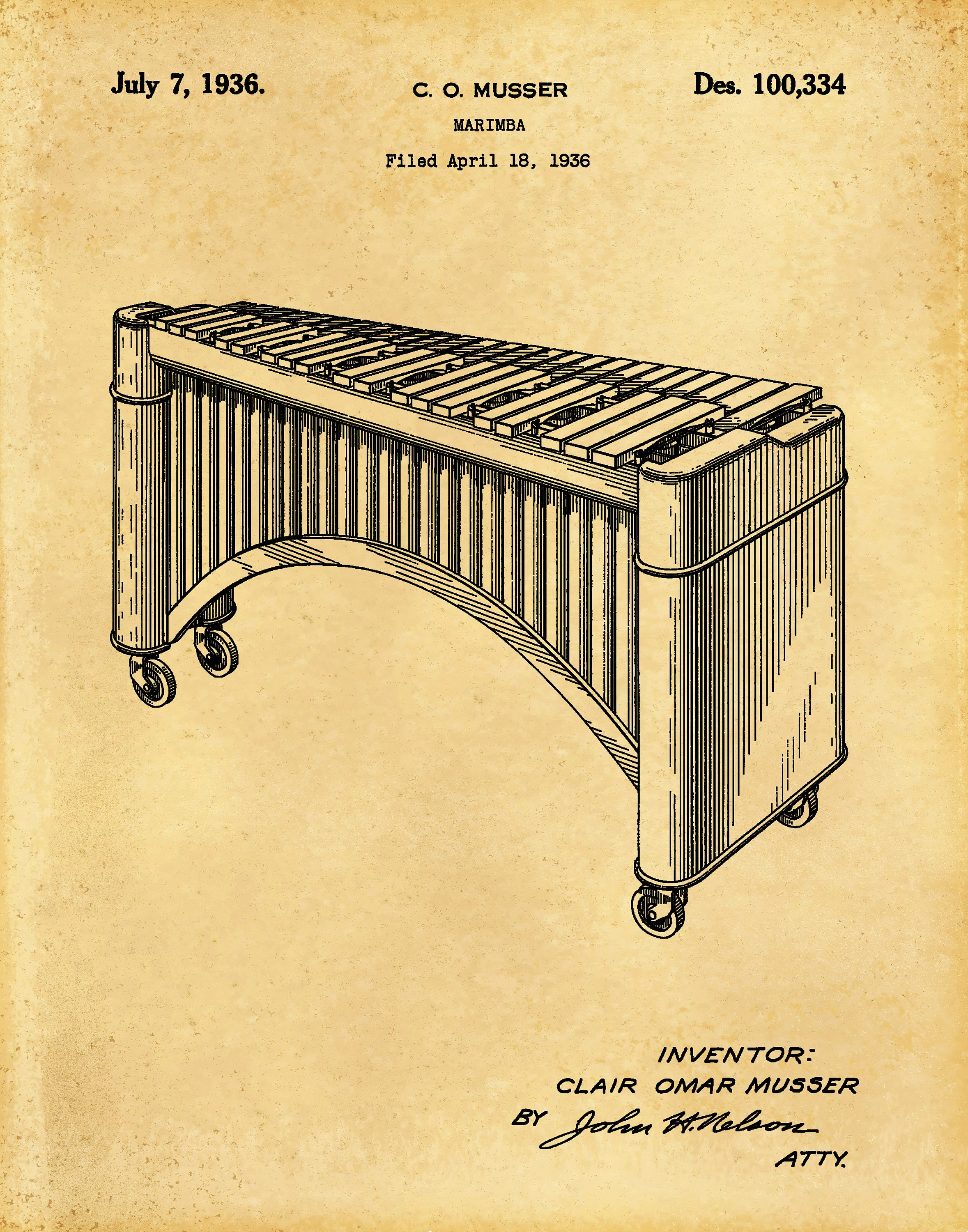 1951 Marimba Patent Print - Xylophone - Music Room Decor - Orchestra ...