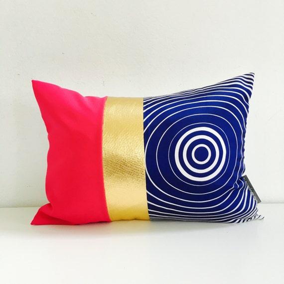 """SALE Blue Mod Pillow Cover 13""""x18"""" Lumbar Cushion Pillow Hot Pink Color Block Pillow Metallic Gold"""