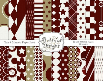 Sport Team Colors Digital Paper Pack  - Personal and Commercial Use - Tan and Maroon