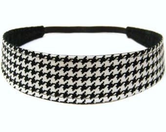 Houndstooth Headband, Reversible Fabric Headband, Black & White Houndstoot, Headbands for Women - BLACK WHITE HOUNDSTOOTH
