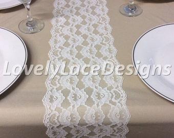 WHITE Lace Table Runner, 6.5ft long X 7in Wide, Wedding Table Runner, Vintage, Overlay, White/Ivory Wedding Decor