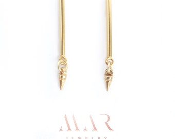 Unique sophisticated long stud earrings. Gold-filled.