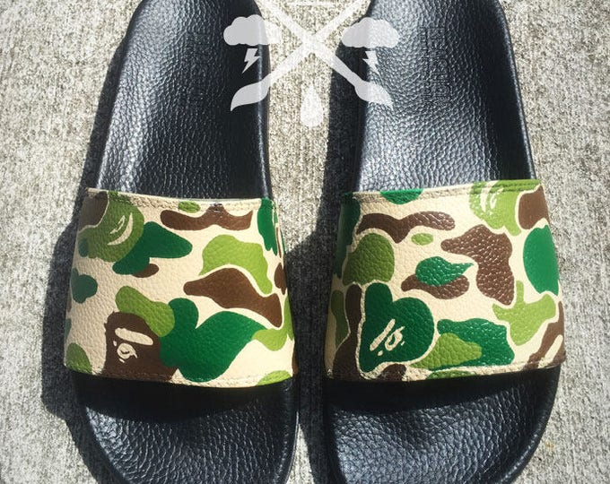 Bape Camo A Bathing Ape Camouflage Custom Slides Sandals Flip Flops