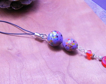 Violet Spotted Ceramic- Beaded Charm-Mobile Phone Accessory- Cellphone charm