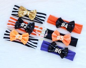 Baby Halloween Headband, Newborn Hallowen Headband, Halloween Sequin Bow Headband, Todder Halloween Headband, Baby Girl Halloween Headband