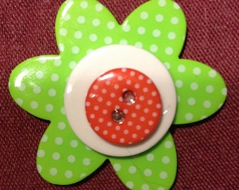 Stacked Button Ring with orange, white and green buttons, flower shaped buttons