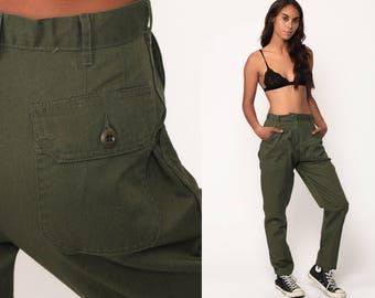 Army Pants CARGO Pants Military High Waisted Combat Olive Green 90s Vintage Utility Punk Grunge Olive Drab Army Pocket Small 28 4 6