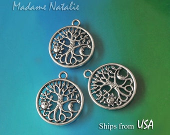 Tree of Life Pendants (3), Antique Silver Tree Sun Moon Charms 25mm, Tree with Sum and Moon Pendants, Tibetan Silver Round Tree Charm