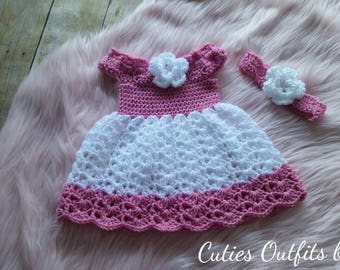 Baby Dress, Handmade Baby Girl Dress, Crochet Baby Dress, Infant Dress, Baby Gift, Dress with Flowers, Vestido de Bebe, Crochet Bebe