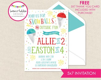 Snow Cone Birthday, Snow Cone Birthday Invitation, Snow Ball Printables, Snow Cone Birthday Decorations, Lauren Haddox Designs